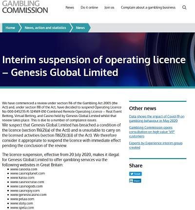 Tilbakekalt lisens for Genesis Global Limited!